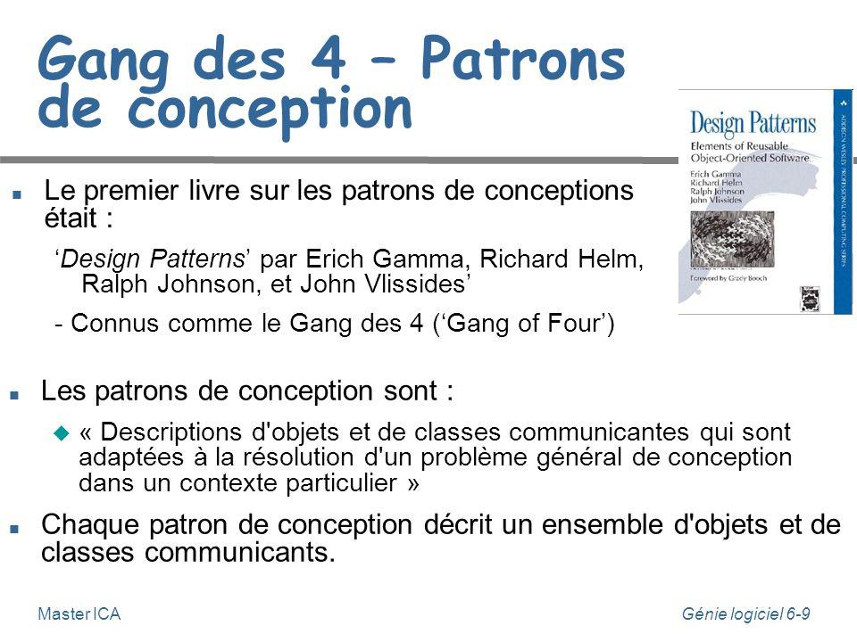 Génie logiciel 6-9 Master ICA Gang des 4 – Patrons de conception Le premier livre sur les patrons de conceptions était : Design Patterns par Erich Gam