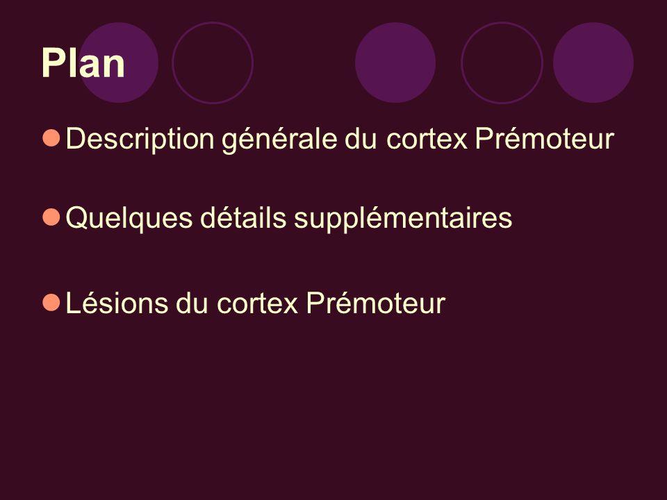Plan Description générale du cortex Prémoteur Quelques détails supplémentaires Lésions du cortex Prémoteur
