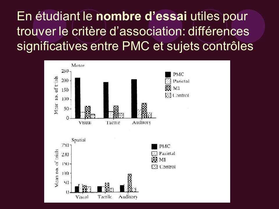 En étudiant le nombre dessai utiles pour trouver le critère dassociation: différences significatives entre PMC et sujets contrôles