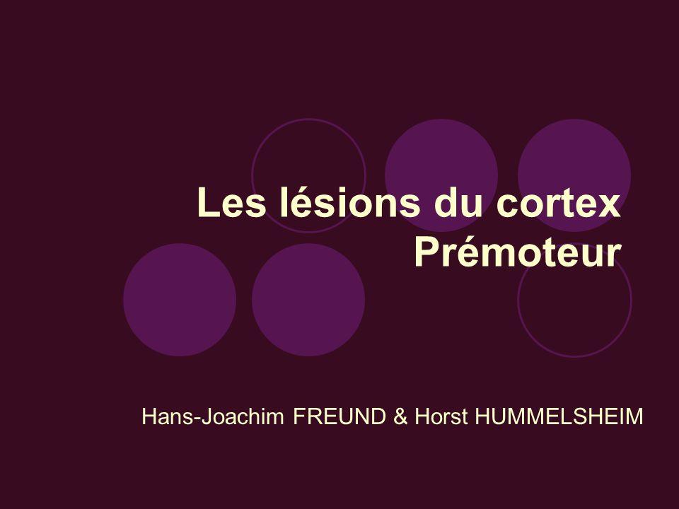 Les lésions du cortex Prémoteur Hans-Joachim FREUND & Horst HUMMELSHEIM