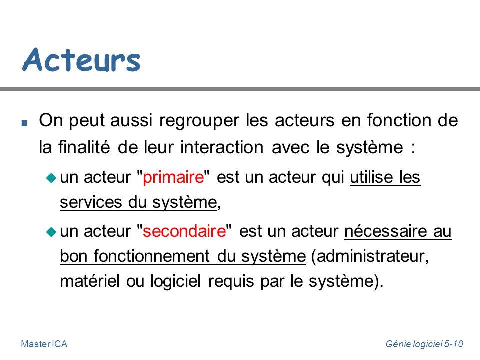 Génie logiciel 5-9Master ICA Acteurs n On peut distinguer 3 types d'acteurs, en tenant compte de leur nature : u les acteurs humains, généralement uti