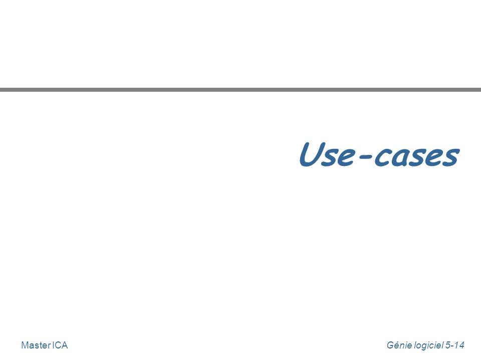 Génie logiciel 5-13Master ICA Généralisation d'acteurs n Les acteurs peuvent être liés par une relation de généralisation : u l'acteur le plus spécifi
