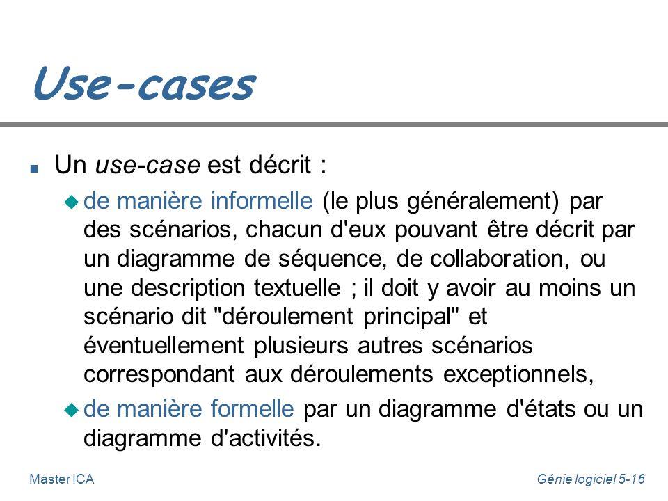 Génie logiciel 5-15Master ICA Use-cases n Un use-case est la description du dialogue (de l'interaction) entre un acteur et le système dans le cadre de