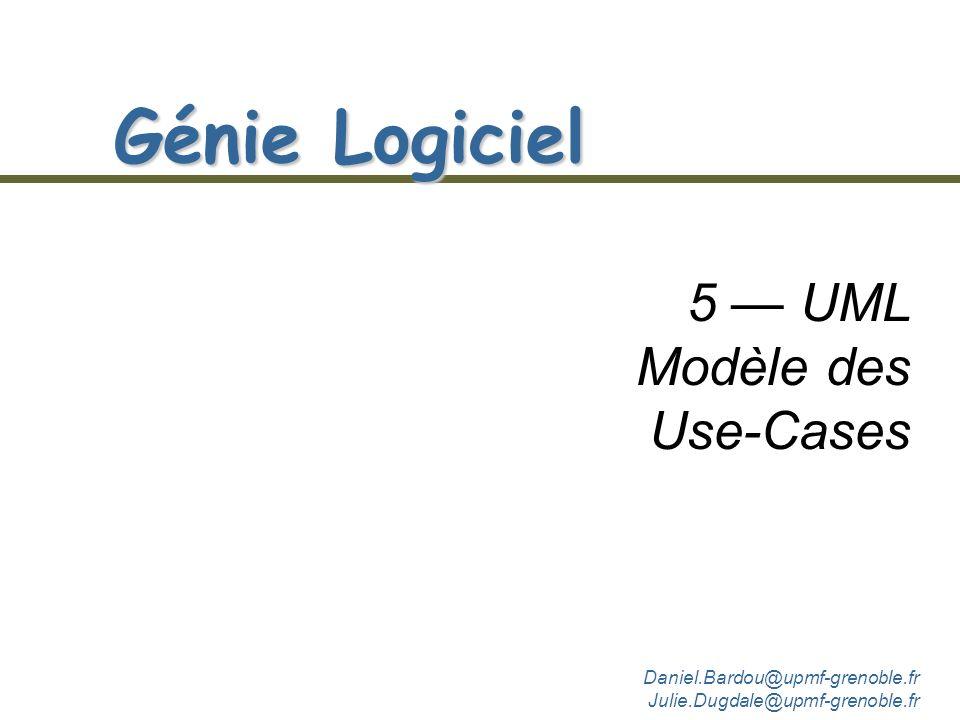 Daniel.Bardou@upmf-grenoble.fr Julie.Dugdale@upmf-grenoble.fr Génie Logiciel 1 & 2 1 Introduction 2 LObjet dans le développement du logiciel 3 UML - M