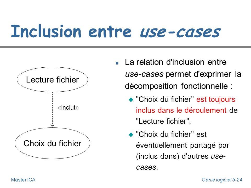 Génie logiciel 5-23Master ICA Notation des diagrammes de Use Cases n Relations u Etend et inclut u Sont montrées comme des dépendances stéréotypées u