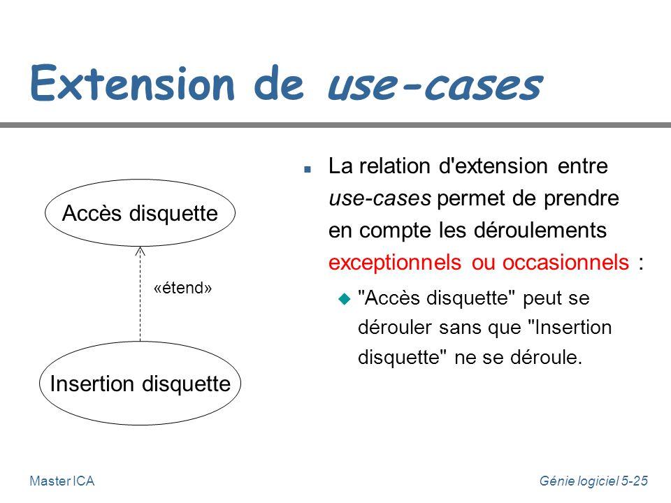 Génie logiciel 5-24Master ICA Inclusion entre use-cases n La relation d'inclusion entre use-cases permet d'exprimer la décomposition fonctionnelle : u