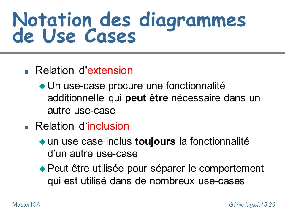 Génie logiciel 5-25Master ICA Extension de use-cases n La relation d'extension entre use-cases permet de prendre en compte les déroulements exceptionn