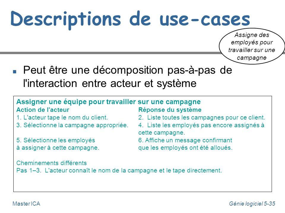 Génie logiciel 5-34Master ICA Descriptions de use-cases n Peut-être un simple paragraphe Assigner une équipe pour travailler sur une campagne u Le man