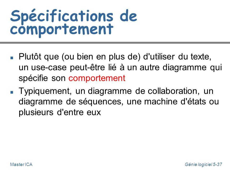 Génie logiciel 5-36Master ICA Descriptions de use-cases n De nombreux projets utilisent des templates u Nom de use case u pré-conditions u post-condit
