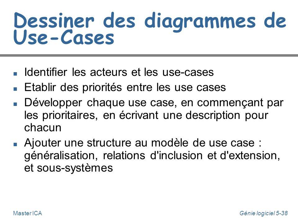 Génie logiciel 5-37Master ICA Spécifications de comportement n Plutôt que (ou bien en plus de) d'utiliser du texte, un use-case peut-être lié à un aut