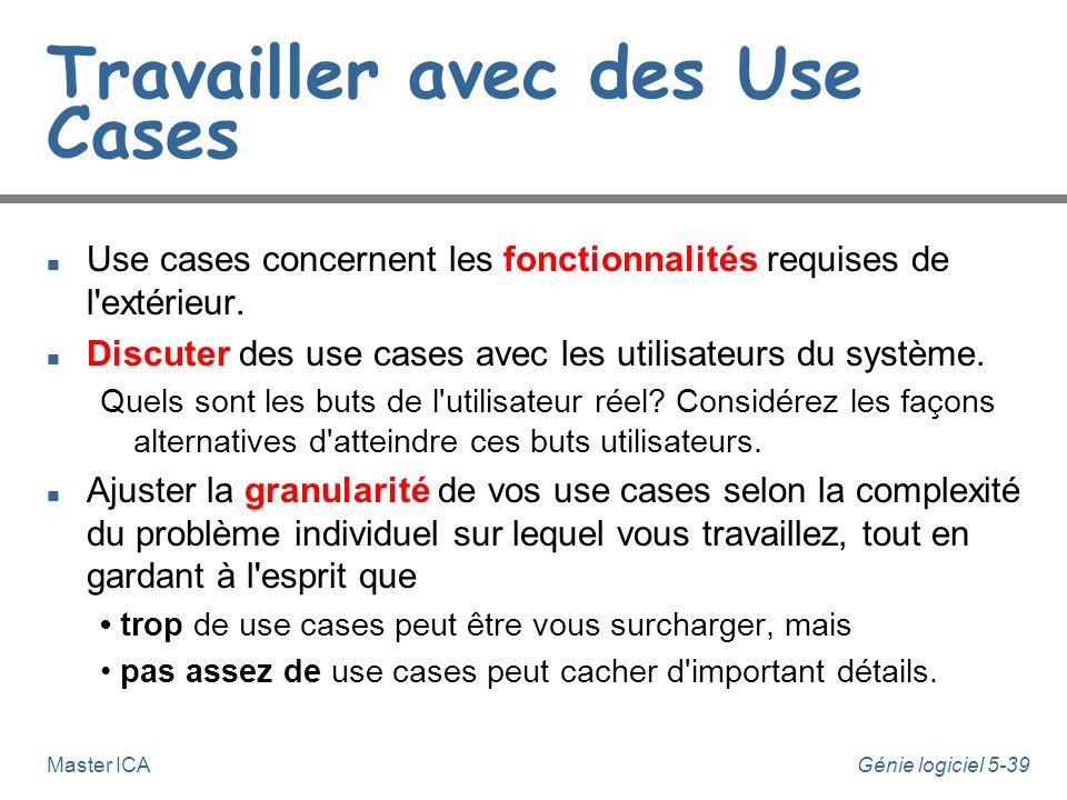Génie logiciel 5-38Master ICA Dessiner des diagrammes de Use-Cases n Identifier les acteurs et les use-cases n Etablir des priorités entre les use cas