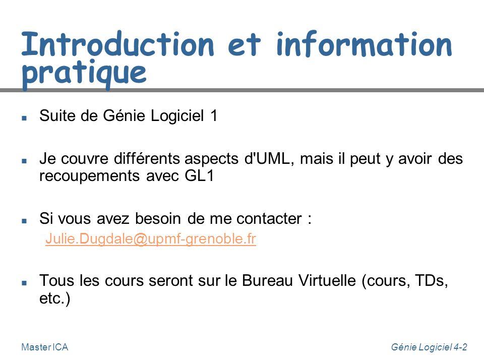 Génie Logiciel 4-2Master ICA Introduction et information pratique n Suite de Génie Logiciel 1 n Je couvre différents aspects d UML, mais il peut y avoir des recoupements avec GL1 n Si vous avez besoin de me contacter : Julie.Dugdale@upmf-grenoble.fr n Tous les cours seront sur le Bureau Virtuelle (cours, TDs, etc.)