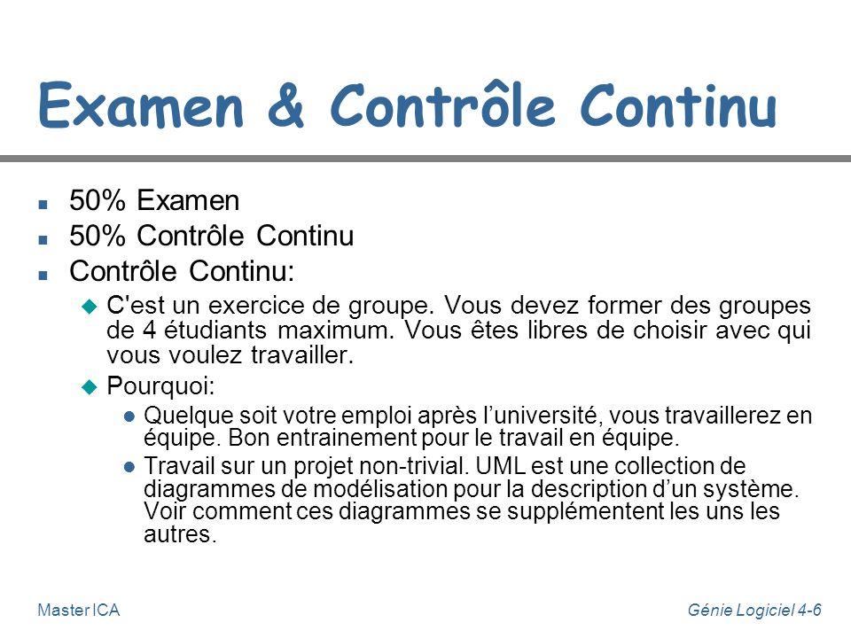 Génie Logiciel 4-6Master ICA Examen & Contrôle Continu n 50% Examen n 50% Contrôle Continu n Contrôle Continu: u C est un exercice de groupe.