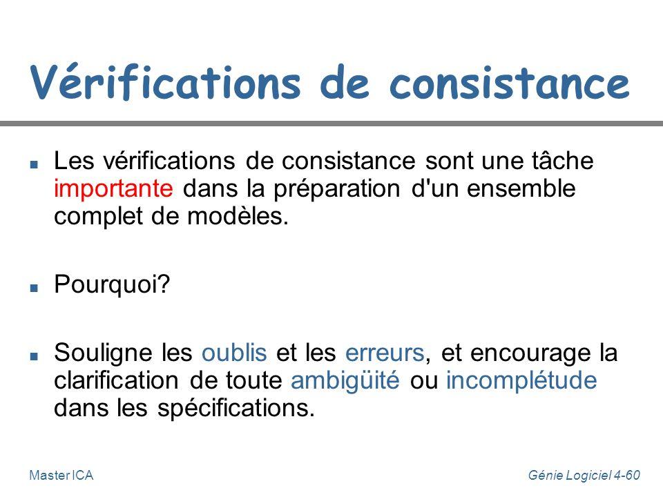 Génie Logiciel 4-59Master ICA Vérifications de consistance n Sur les slides du cours (sur le BV) jai mis de linformation sur des manières de vérifier