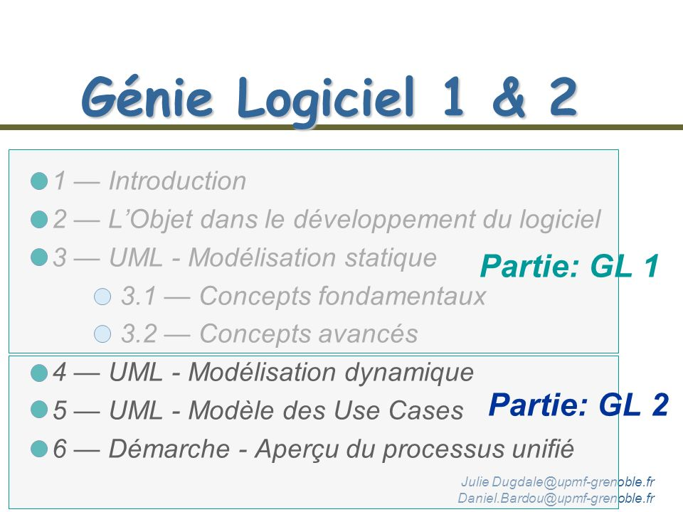 Génie Logiciel 1 & 2 1 Introduction 2 LObjet dans le développement du logiciel 3 UML - Modélisation statique 3.1 Concepts fondamentaux 3.2 Concepts avancés 4 UML - Modélisation dynamique 5 UML - Modèle des Use Cases 6 Démarche - Aperçu du processus unifié Partie: GL 1 Julie Dugdale@upmf-grenoble.fr Daniel.Bardou@upmf-grenoble.fr Partie: GL 2