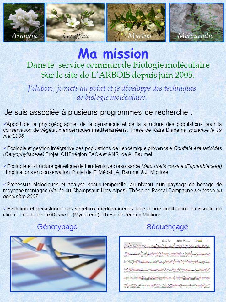 Dans le service commun de Biologie moléculaire Sur le site de LARBOIS depuis juin 2005. Apport de la phylogéographie, de la dynamique et de la structu