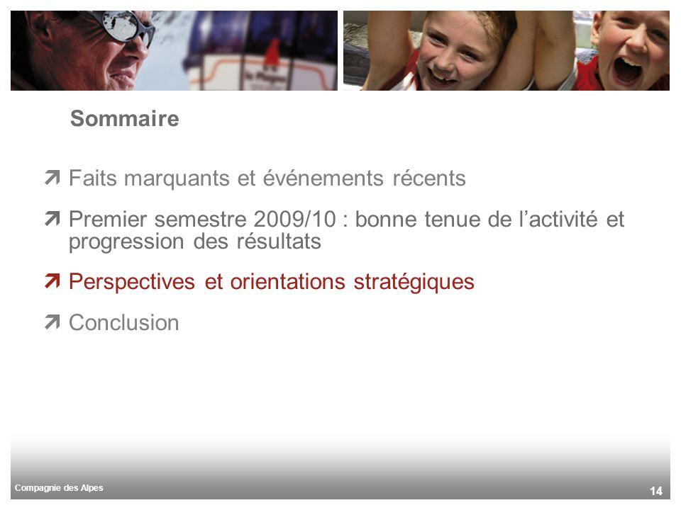 Compagnie des Alpes 14 Sommaire Faits marquants et événements récents Premier semestre 2009/10 : bonne tenue de lactivité et progression des résultats Perspectives et orientations stratégiques Conclusion