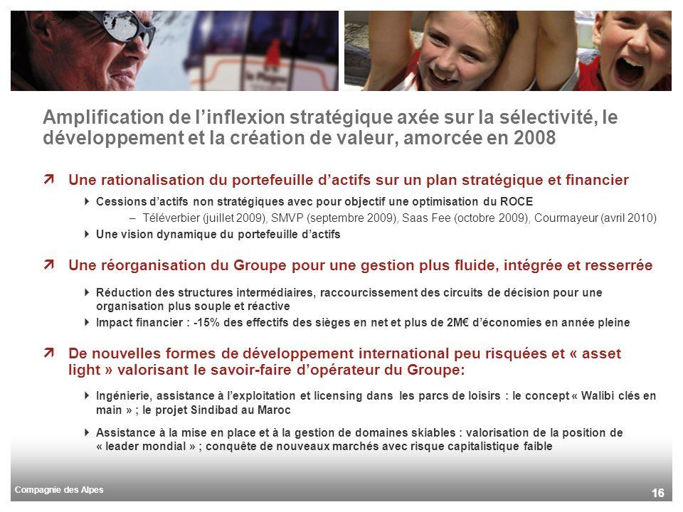 Compagnie des Alpes 16 Amplification de linflexion stratégique axée sur la sélectivité, le développement et la création de valeur, amorcée en 2008 Une