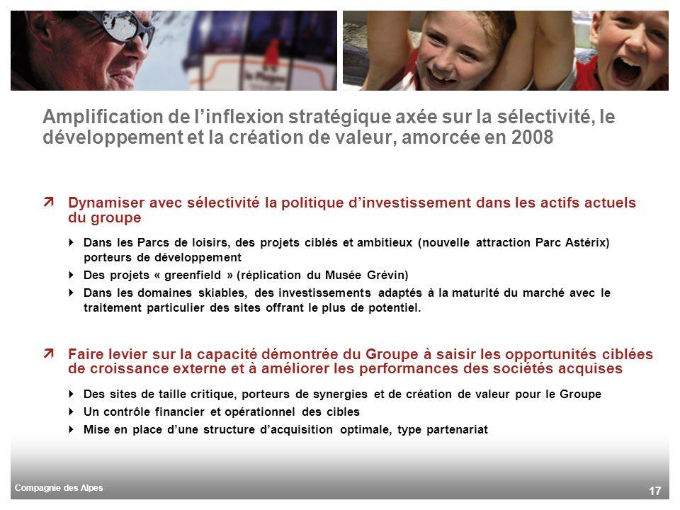 Compagnie des Alpes 17 Amplification de linflexion stratégique axée sur la sélectivité, le développement et la création de valeur, amorcée en 2008 Dyn