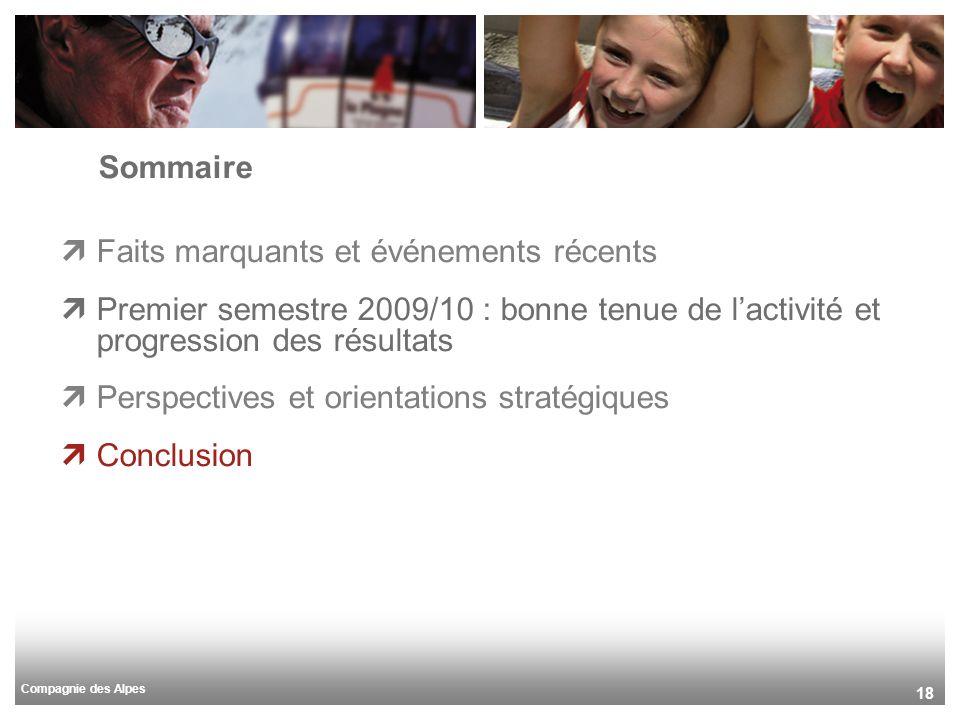 Compagnie des Alpes 18 Sommaire Faits marquants et événements récents Premier semestre 2009/10 : bonne tenue de lactivité et progression des résultats