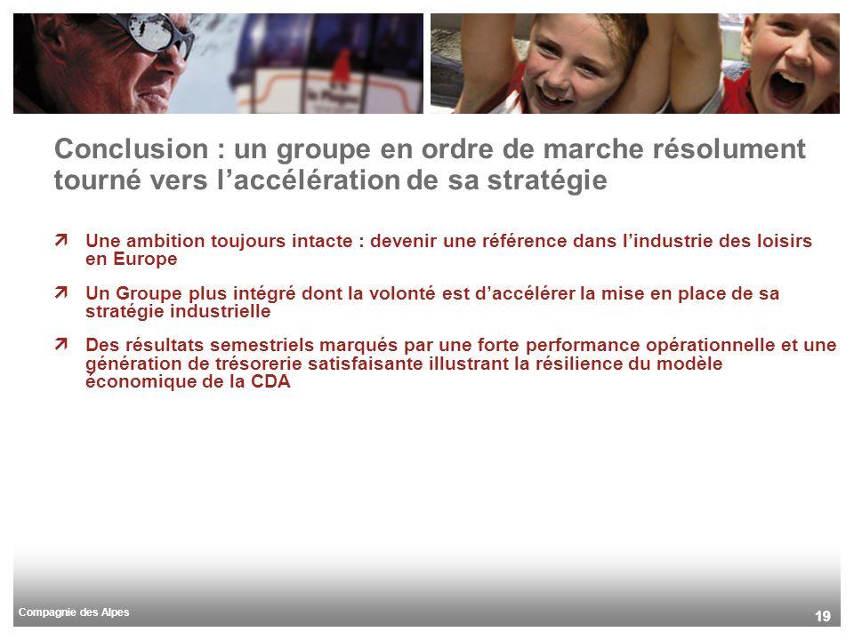 Compagnie des Alpes 19 Conclusion : un groupe en ordre de marche résolument tourné vers laccélération de sa stratégie Une ambition toujours intacte :