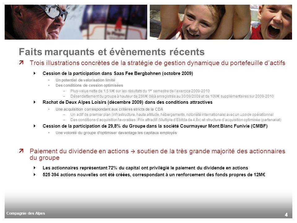 Compagnie des Alpes 44 Trois illustrations concrètes de la stratégie de gestion dynamique du portefeuille dactifs Cession de la participation dans Saa