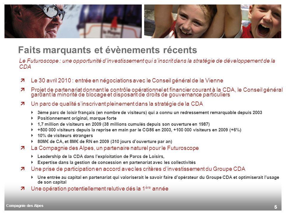 Compagnie des Alpes 55 Le Futuroscope : une opportunité dinvestissement qui sinscrit dans la stratégie de développement de la CDA Le 30 avril 2010 : entrée en négociations avec le Conseil général de la Vienne Projet de partenariat donnant le contrôle opérationnel et financier courant à la CDA, le Conseil général gardant la minorité de blocage et disposant de droits de gouvernance particuliers Un parc de qualité sinscrivant pleinement dans la stratégie de la CDA 3ème parc de loisir français (en nombre de visiteurs) qui a connu un redressement remarquable depuis 2003 Positionnement original, marque forte 1,7 million de visiteurs en 2009 (38 millions cumulés depuis son ouverture en 1987) +500 000 visiteurs depuis la reprise en main par le CG86 en 2003, +100 000 visiteurs en 2009 (+6%) 10% de visiteurs étrangers 80M de CA, et 8M de RN en 2009 (310 jours douverture par an) La Compagnie des Alpes, un partenaire naturel pour le Futuroscope Leadership de la CDA dans lexploitation de Parcs de Loisirs, Expertise dans la gestion de concession en partenariat avec les collectivités Une prise de participation en accord avec les critères dinvestissement du Groupe CDA Une entrée au capital en partenariat qui valoriserait le savoir faire dopérateur du Groupe CDA et optimiserait lusage de son capital Une opération potentiellement relutive dés la 1 ère année Faits marquants et évènements récents
