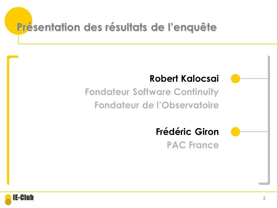 2 Présentation des résultats de lenquête Robert Kalocsai Fondateur Software Continuity Fondateur de lObservatoire Frédéric Giron PAC France