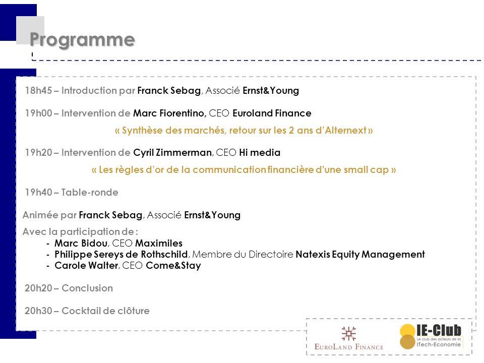 Intervention Marc FIORENTINO CEO Euroland Finance Synthèse des marchés, retour sur les 2 ans dAlternext