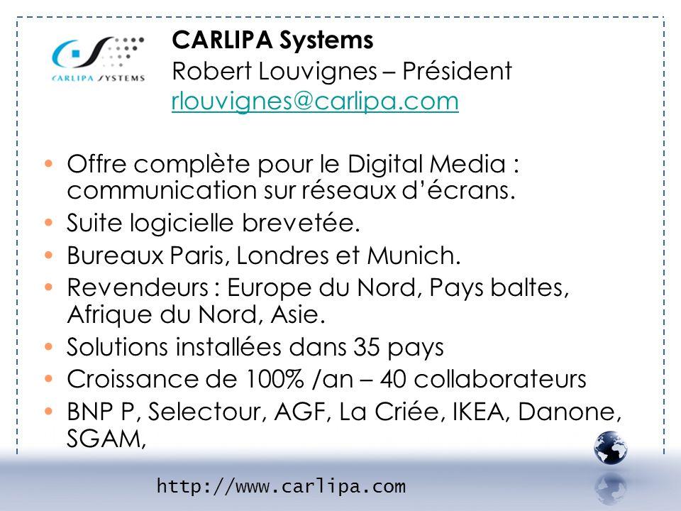 http://www.carlipa.com Offre complète pour le Digital Media : communication sur réseaux décrans. Suite logicielle brevetée. Bureaux Paris, Londres et