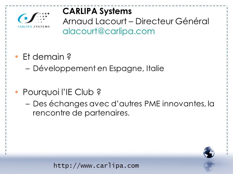 CARLIPA Systems Arnaud Lacourt – Directeur Général alacourt@carlipa.com Et demain ? –Développement en Espagne, Italie Pourquoi lIE Club ? –Des échange