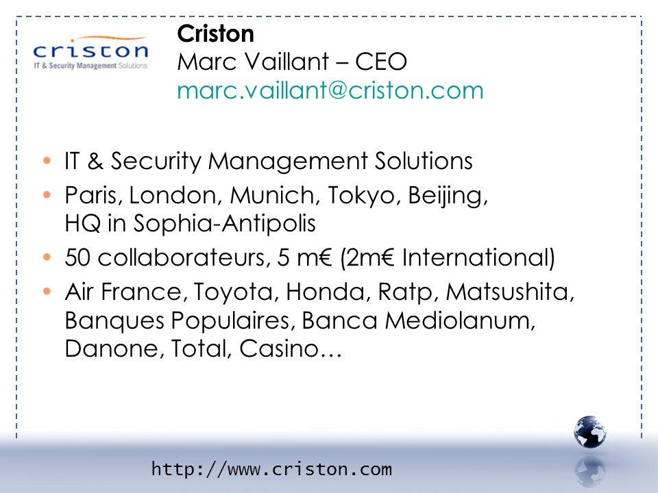 - CRISTON 1 IT & Security Management Solutions Paris, London, Munich, Tokyo, Beijing, HQ in Sophia-Antipolis 50 collaborateurs, 5 m (2m International)
