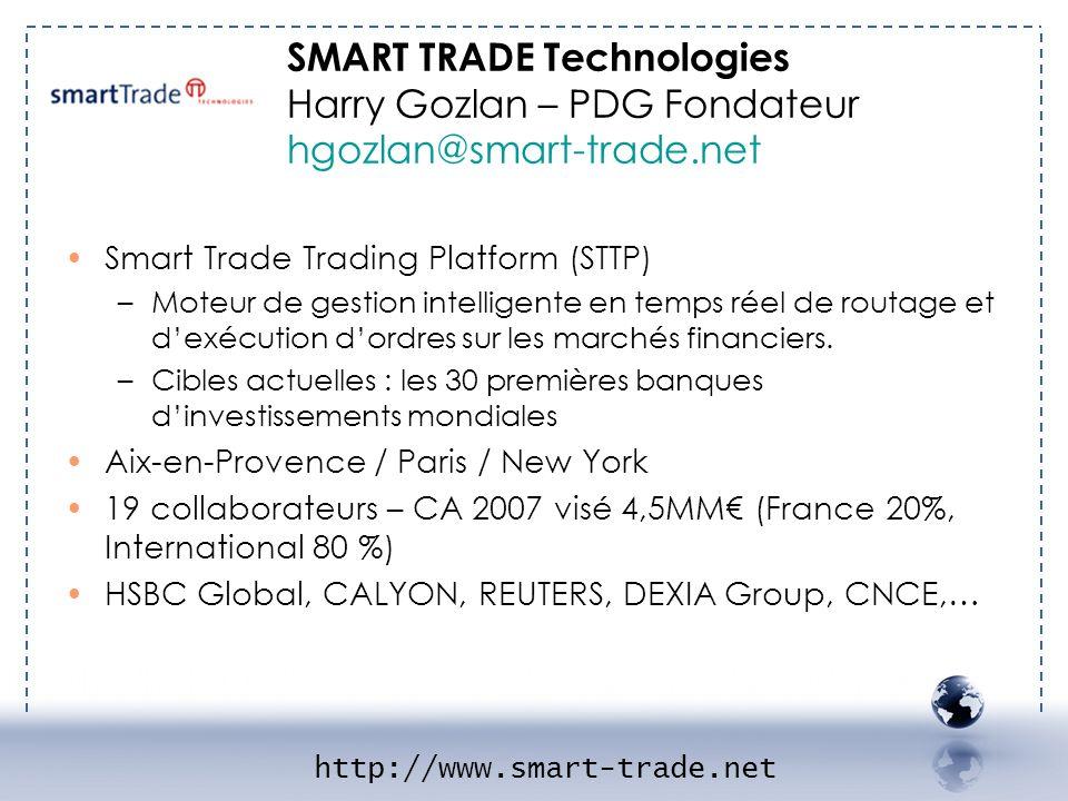 Smart Trade Trading Platform (STTP) –Moteur de gestion intelligente en temps réel de routage et dexécution dordres sur les marchés financiers. –Cibles