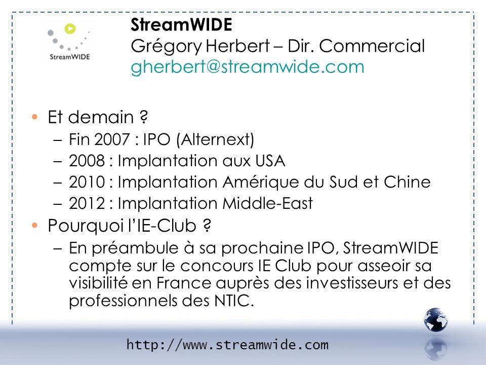 Et demain ? –Fin 2007 : IPO (Alternext) –2008 : Implantation aux USA –2010 : Implantation Amérique du Sud et Chine –2012 : Implantation Middle-East Po