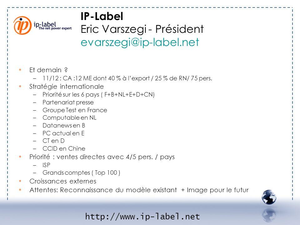 Et demain ? –11/12 : CA :12 ME dont 40 % à lexport / 25 % de RN/ 75 pers. Stratégie internationale –Priorité sur les 6 pays ( F+B+NL+E+D+CN) –Partenar