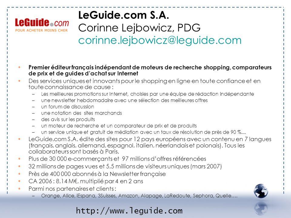 - LE Guide 1 Premier éditeur français indépendant de moteurs de recherche shopping, comparateurs de prix et de guides dachat sur Internet Des services