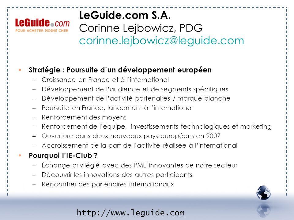 Stratégie : Poursuite dun développement européen –Croissance en France et à linternational –Développement de laudience et de segments spécifiques –Dév