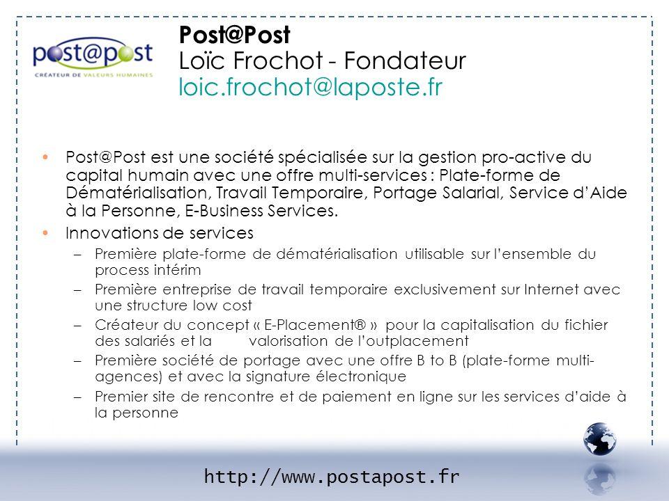 Post@Post est une société spécialisée sur la gestion pro-active du capital humain avec une offre multi-services : Plate-forme de Dématérialisation, Tr