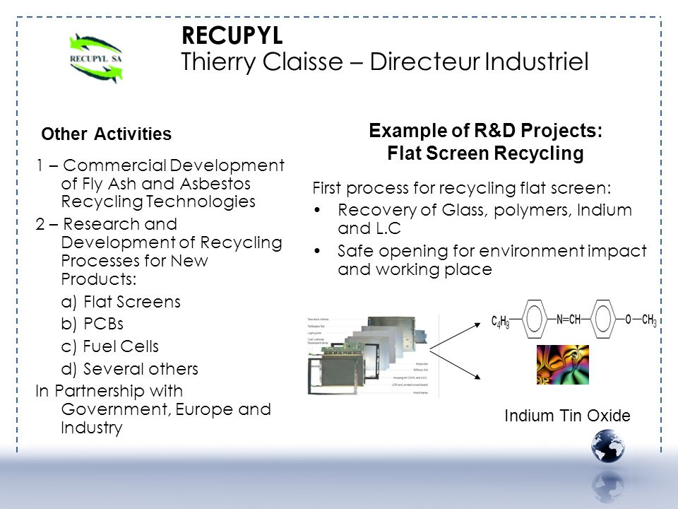RECUPYL Thierry Claisse – Directeur Industriel Other Activities 1 – Commercial Development of Fly Ash and Asbestos Recycling Technologies 2 – Research