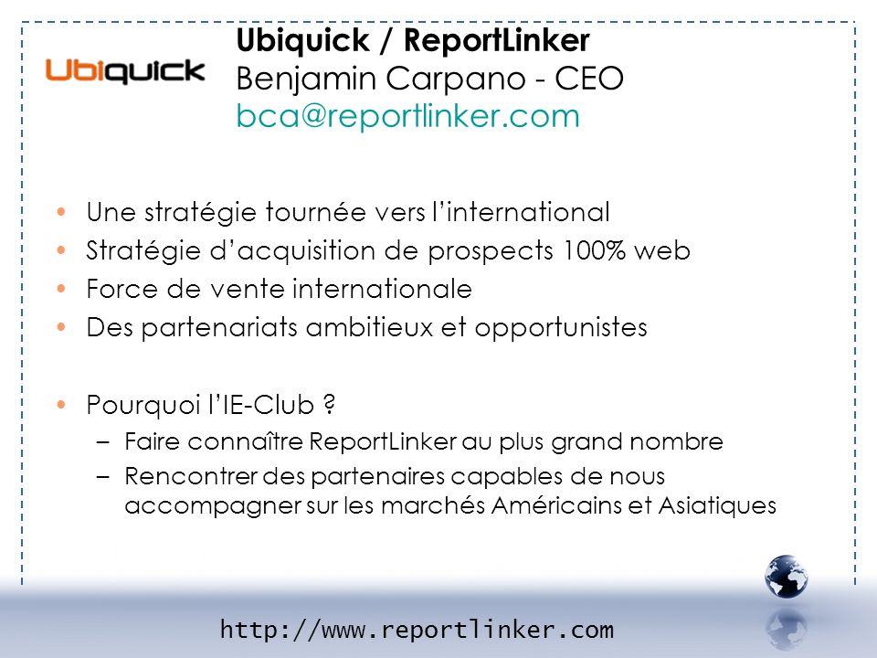 - UBIQUICK 2 Une stratégie tournée vers linternational Stratégie dacquisition de prospects 100% web Force de vente internationale Des partenariats amb