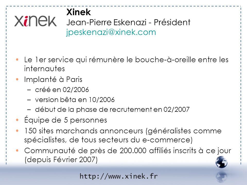 - XINEK 1 Le 1er service qui rémunère le bouche-à-oreille entre les internautes Implanté à Paris –créé en 02/2006 –version bêta en 10/2006 –début de l
