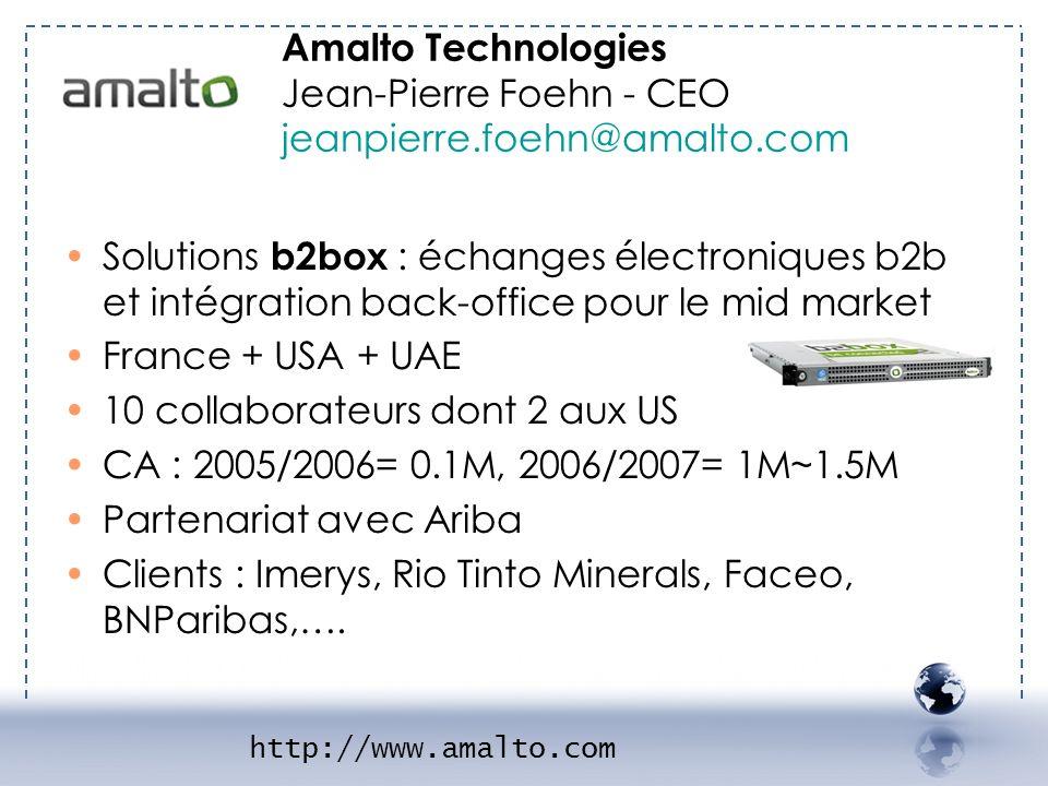 Amalto Technologies Jean-Pierre Foehn - CEO jeanpierre.foehn@amalto.com http://www.amalto.com - AMALTO 1 Solutions b2box : échanges électroniques b2b