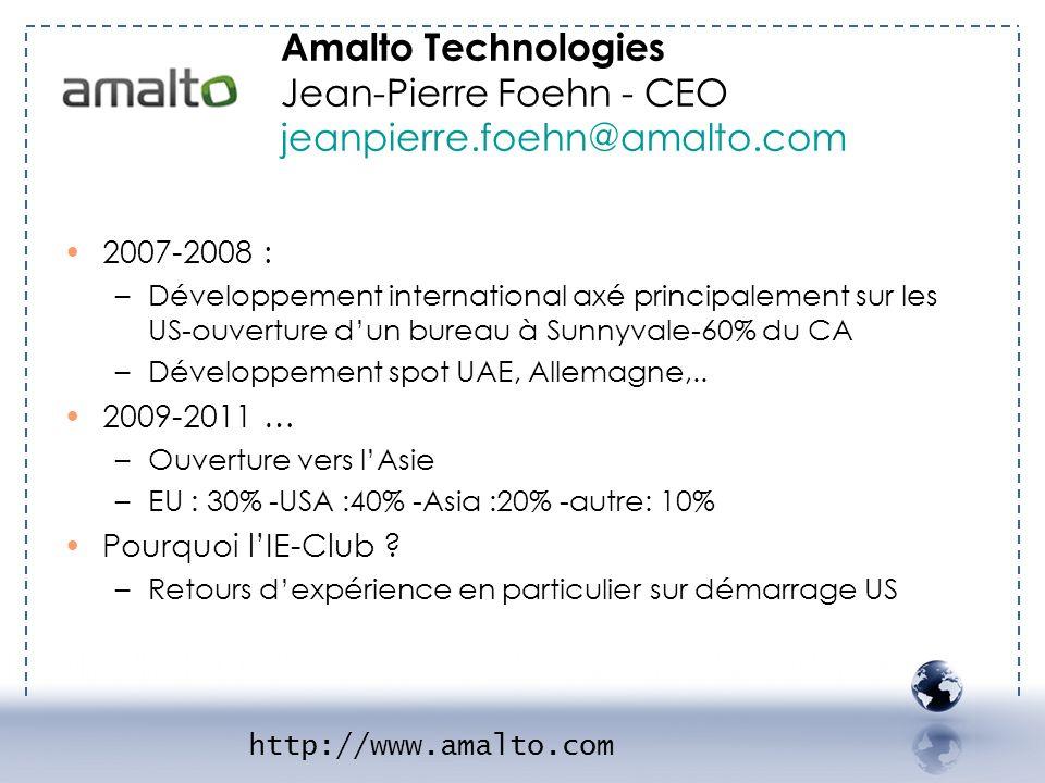 - AMALTO 2 2007-2008 : –Développement international axé principalement sur les US-ouverture dun bureau à Sunnyvale-60% du CA –Développement spot UAE,