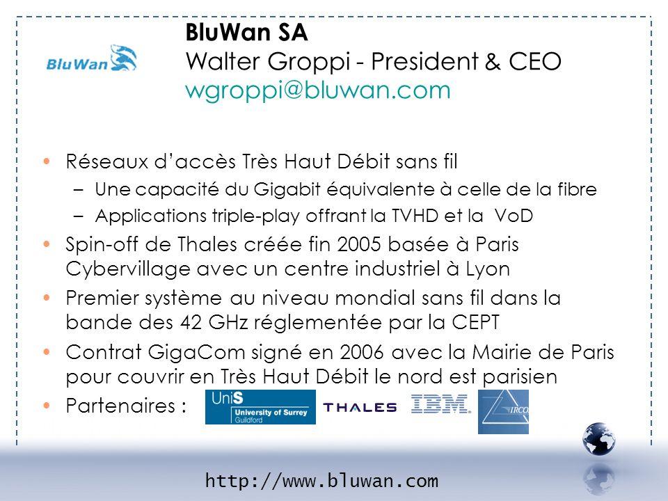 - BLUWAN 1 Réseaux daccès Très Haut Débit sans fil –Une capacité du Gigabit équivalente à celle de la fibre –Applications triple-play offrant la TVHD