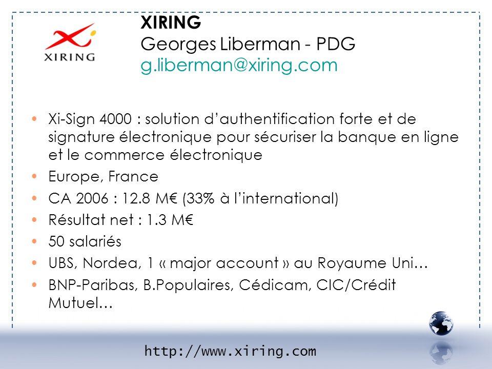 - XIRING 1 Xi-Sign 4000 : solution dauthentification forte et de signature électronique pour sécuriser la banque en ligne et le commerce électronique