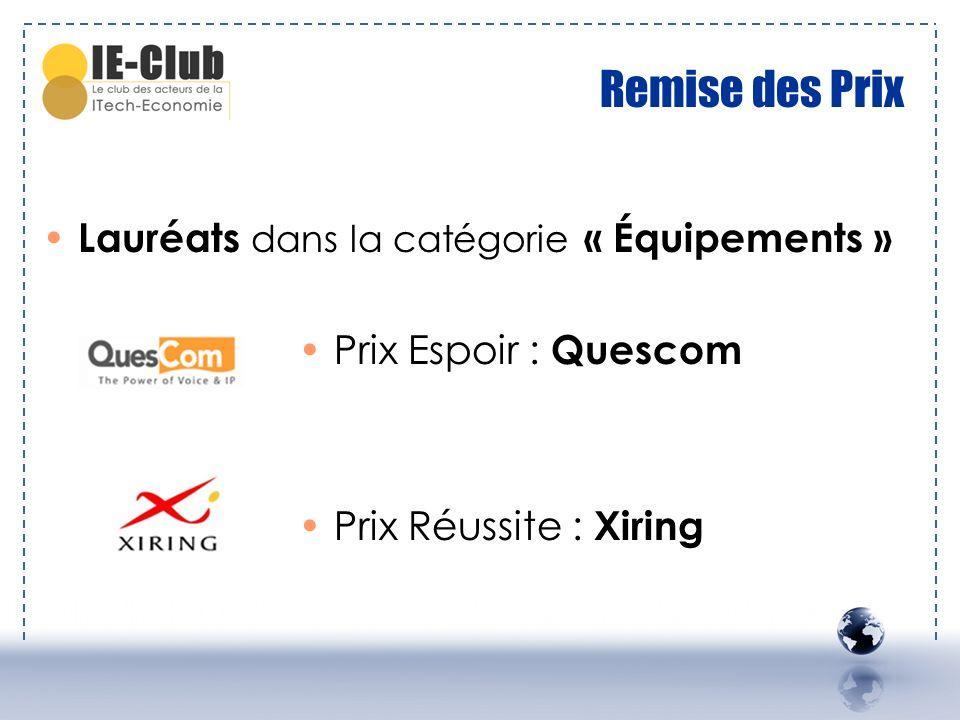 Remise des Prix Lauréats dans la catégorie « Équipements » Prix Espoir : Quescom Prix Réussite : Xiring