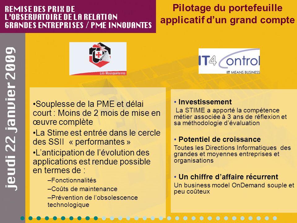Pilotage du portefeuille applicatif dun grand compte Souplesse de la PME et délai court : Moins de 2 mois de mise en œuvre complète La Stime est entré