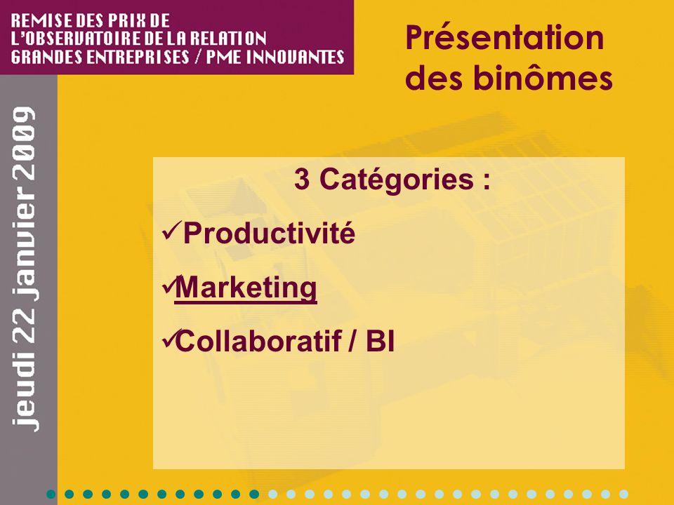 3 Catégories : Productivité Marketing Collaboratif / BI Présentation des binômes