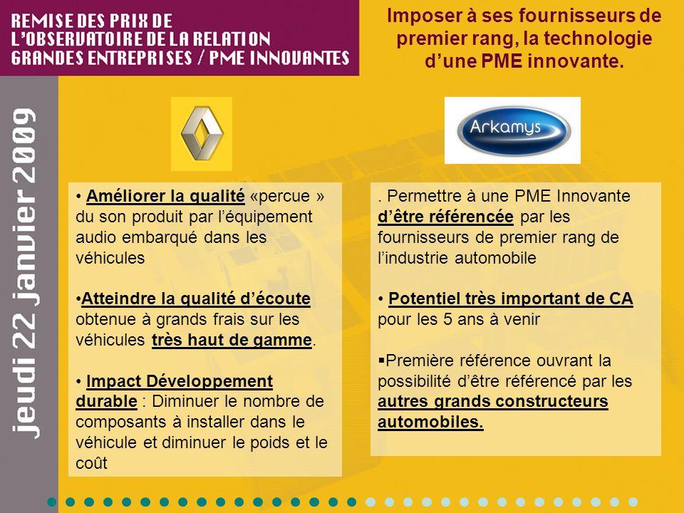 Imposer à ses fournisseurs de premier rang, la technologie dune PME innovante.