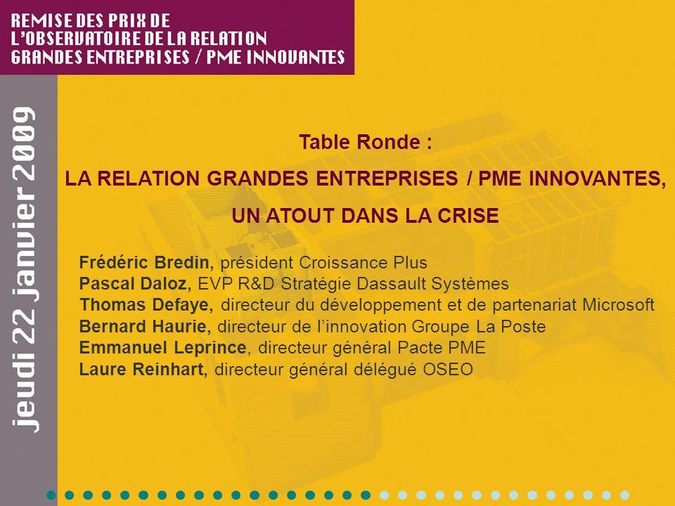 Table Ronde : LA RELATION GRANDES ENTREPRISES / PME INNOVANTES, UN ATOUT DANS LA CRISE Frédéric Bredin, président Croissance Plus Pascal Daloz, EVP R&